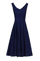 Jolie Moi Lace Bonded Sweetheart Neck Dress Navy