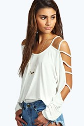 Boohoo Strappy Sleeve Loose Fit Top Ivory