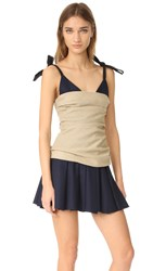Jacquemus Bustier Dress Beige Navy