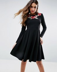 Club L Rose Embroidered Skater Dress Black