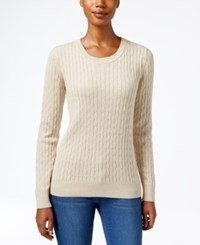 Karen Scott Marled Cable Knit Sweater Only At Macy's New Khaki Marled