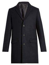 A.P.C. Luchino Wool Blend Overcoat Navy