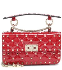 Valentino Garavani Rockstud Spike Small Patent Leather Shoulder Bag Red