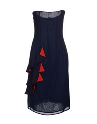 Amaya Arzuaga Short Dresses Dark Blue