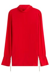 Nina Ricci Silk Blouse With Chain Embellishment Red