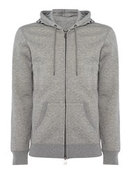 Armani Jeans Men's Back Eagle Print Zip Through Hooded Sweat Grey
