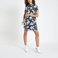 River Island Navy Floral Print Pleated Swing Dress