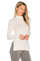Enza Costa Long Sleeve Mock Neck Slit Tunic White