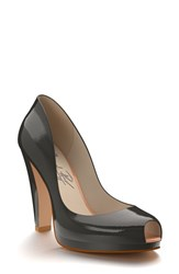 Women's Shoes Of Prey Patent Leather Peep Toe Platform Pump Olive Patent