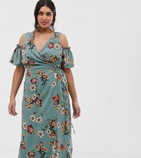 Lovedrobe Cold Shoulder Midi Dress With Tie Waist In Teal Floral Green