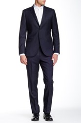 Zanetti Blue Check Two Button Notch Lapel Slim Fit Wool Suit