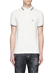 R 13 Contrast Tipping Cotton Polo Shirt White