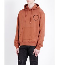 Criminal Damage Logo Print Cotton Jersey Hoody Rust