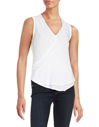 Red Haute Surplice Front Burnout Tank Top White