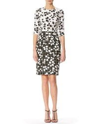 Carolina Herrera Leaf Print Tweed Half Sleeve Dress White Black White Black