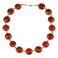 Alice Joseph Vintage Hand Blown Venetian Glass Bead Necklace Red