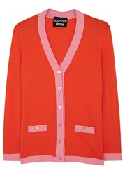Boutique Moschino Two Tone Stretch Knit Cardigan Coral