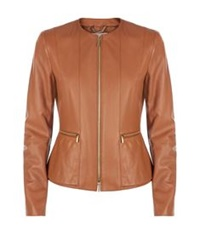 Hugo Boss Leather Zip Front Jacket Beige