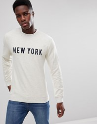 Selected Homme Sweatshirt With New York Print Snow White