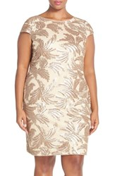 Plus Size Women's Adrianna Papell Sequin Cap Sleeve Sheath Dress Champagne