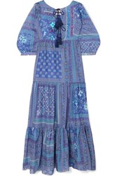 Anjuna Tasseled Sequined Printed Cotton Maxi Dress Blue