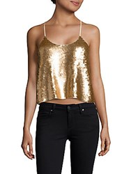 Tibi Eclair Sequinned Cropped Camisole Top Gold