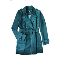 Etrala London Suede Trench Coat Green