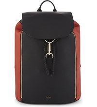 Paul Smith Two Tone Leather Backpack Blk Orange