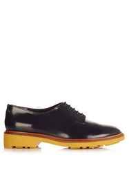 Robert Clergerie Jonk Polished Leather Lace Up Shoes Navy