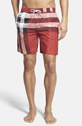 Men's Burberry Brit 'Gowers' Check Swim Trunks Parade Red