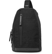 Berluti Verso Scritto Leather Trimmed Printed Nylon And Mesh Backpack Black