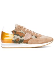 Philippe Model Camouflage Print Sneakers Women Leather Polyamide Rubber 40 Nude Neutrals