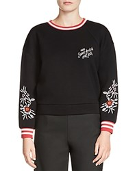 Maje Tack Embroidered Neoprene Sweatshirt Black