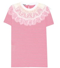 Miu Miu Lace Trimmed Cotton T Shirt Red