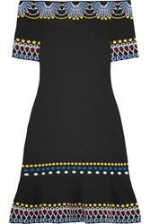 Peter Pilotto Off The Shoulder Knitted Mini Dress Black