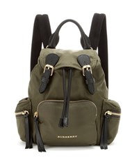 Burberry The Small Leather Trimmed Backpack Green