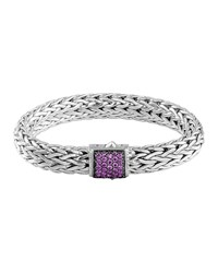 Classic Chain 11Mm Large Braided Silver Bracelet Amethyst John Hardy Purple