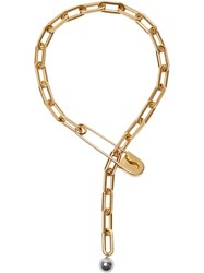 Burberry Crystal Daisy Kilt Pin Gold Plated Link Drop Necklace Metallic