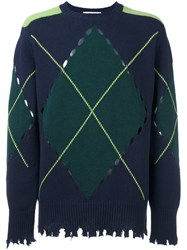 Msgm Argyle Jumper Blue