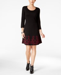 Nine West Fit And Flare Sweater Dress Black Red