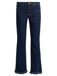 Sonia Rykiel Mid Rise Flared Cropped Jeans Blue