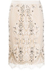 Twin Set Lace Overlay Pencil Skirt 60