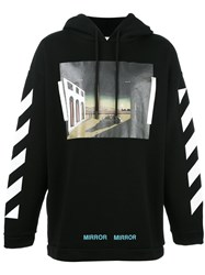Off White Striped Sleeves Hoodie Black
