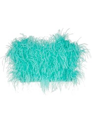 Attico Ostrich Feather Cropped Bustier Blue