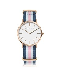 Sean Statham Rose Goldtone Stainless Steel Unisex Quartz Watch W Blue And Pink Striped Canvas Band