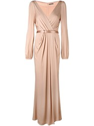Alexander Mcqueen Ruched Wrap Long Dress Pink And Purple