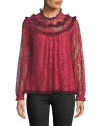 Needle And Thread Scallop Frill Lace Long Sleeve Top Red