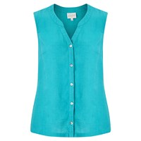 East Linen Sleeveless Shirt Lagoon