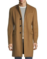 Emporio Armani Single Breasted Wool Top Coat Beige
