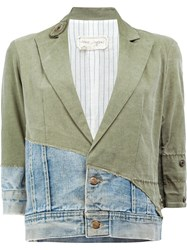 Greg Lauren Vintage Denim Cropped Jacket Green